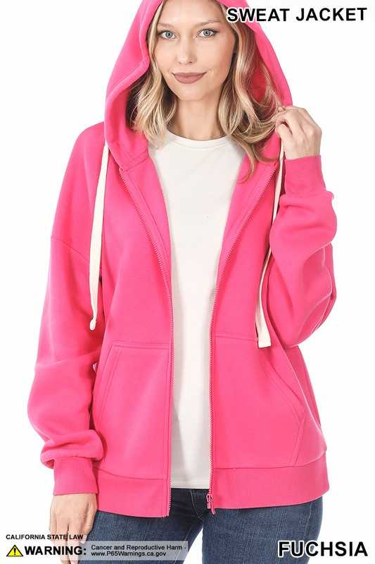 ZIPPER HOODIE SWEAT JACKET WITH KANGAROO POCKET