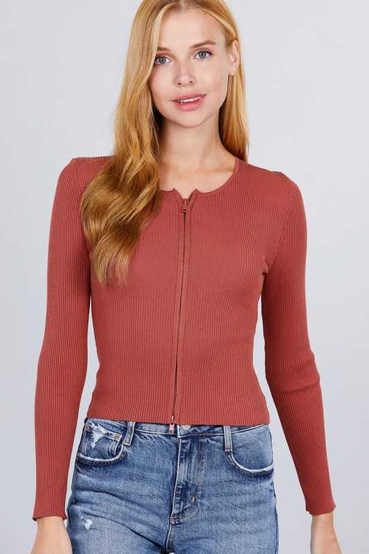 ROUND NECK FRONT ZIPPER DETAIL RIB SWEATER TOP