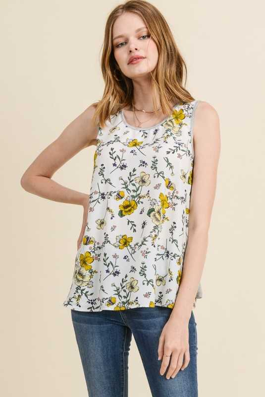 Sleeveless Floral Print Tank Top