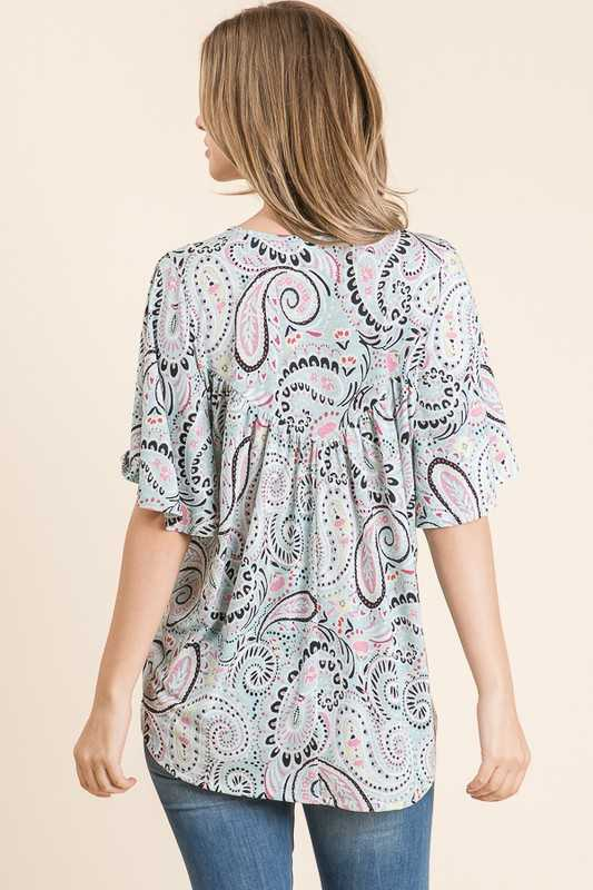 PAISLEY PRINTED BULGARI V NECK WIDE SHORT SLEEVE TOP