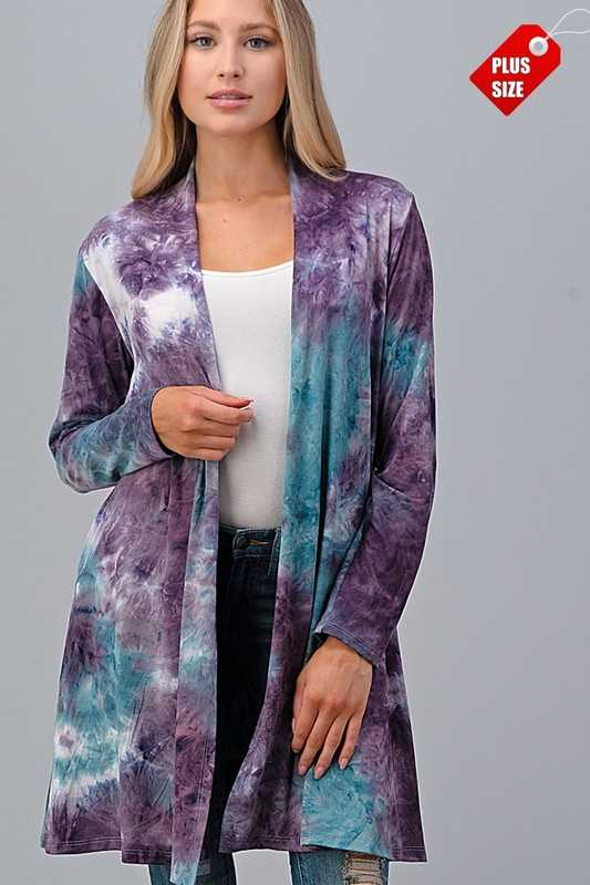 TIE DYE LONG SLEEVE CARDIGAN WITH POCKETS PLUS