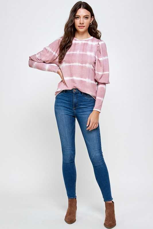 TIE DYE STRIPE ROUND NECK LONG SLEEVE TOP