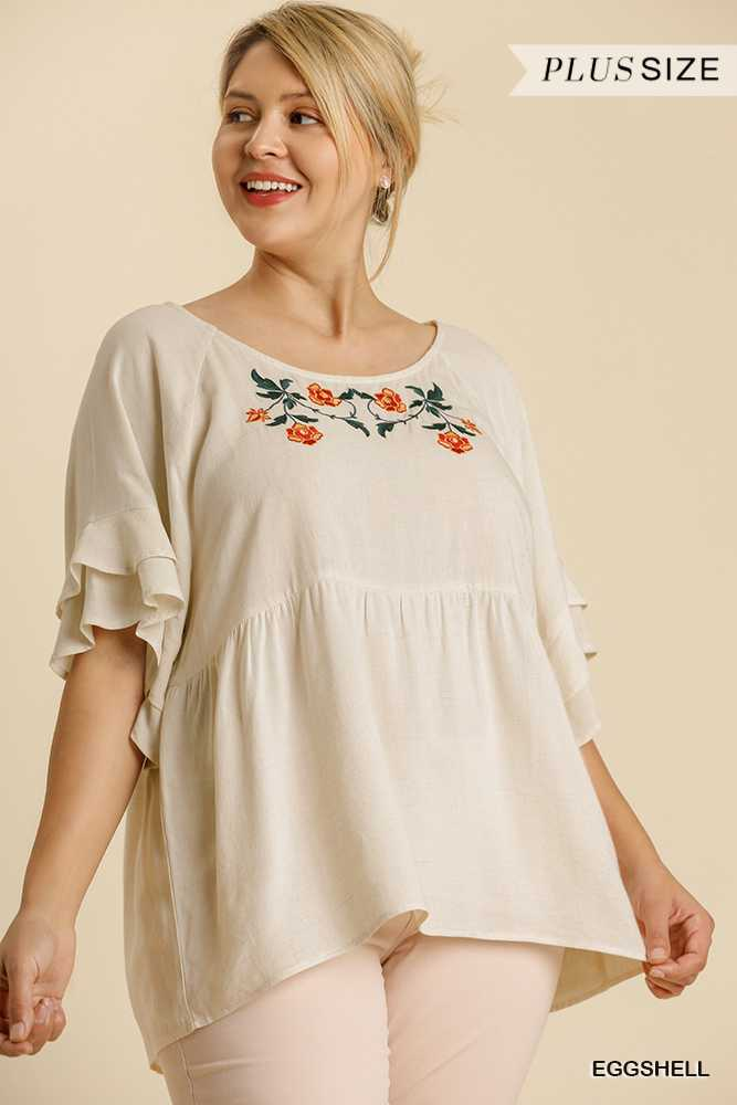 Round Neck Half Layered Bell Sleeve Babydoll Top