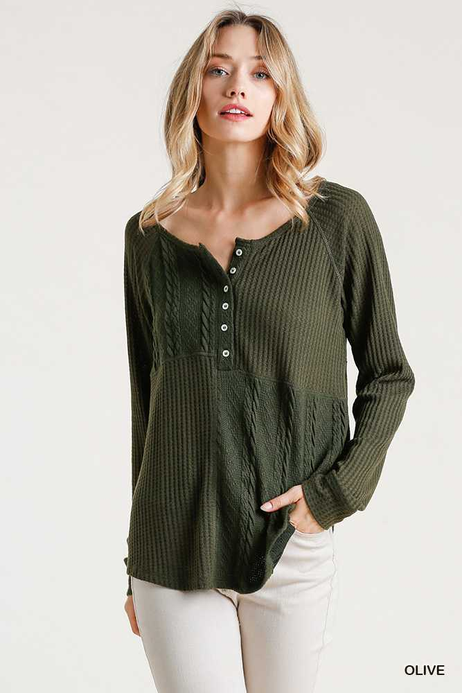 Cable Knit Button Front Waffle Knit Top