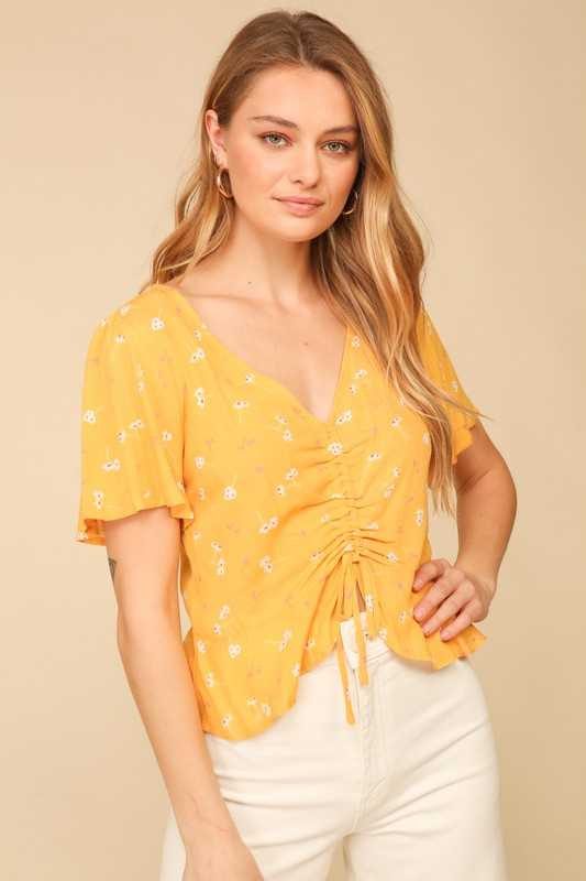 Short sleeve woven floral v neck ruched top