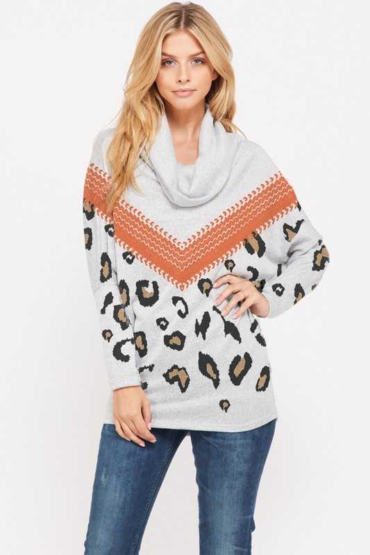 Chevron with leopard cowl neck long sleeve top