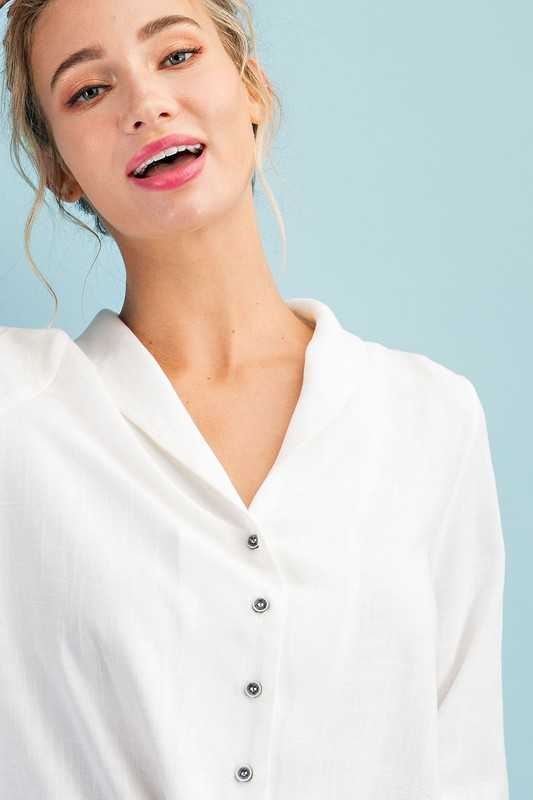 SHAWL COLLAR BUTTON DOWN TOP