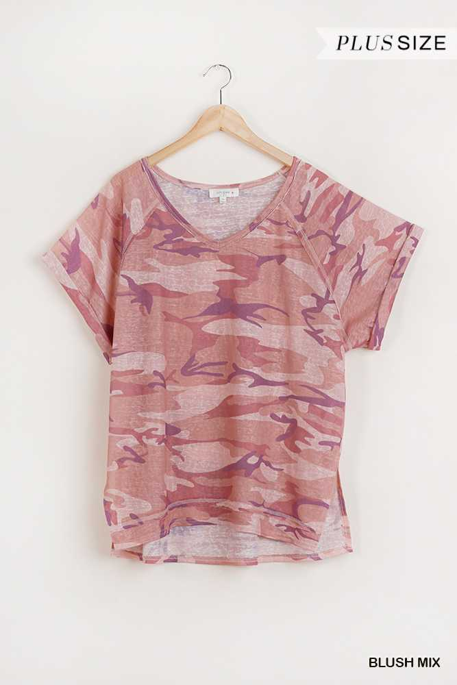 Camouflage Print Short Folded Sleeve V-Neck Top