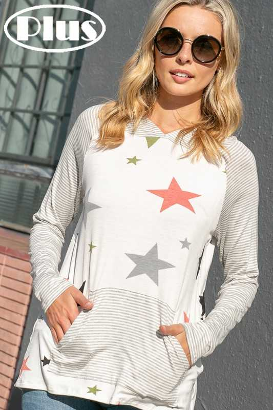 STAR PRINT PIN STRIPE MIX HOODIE HIGH LOW PLUS TOP