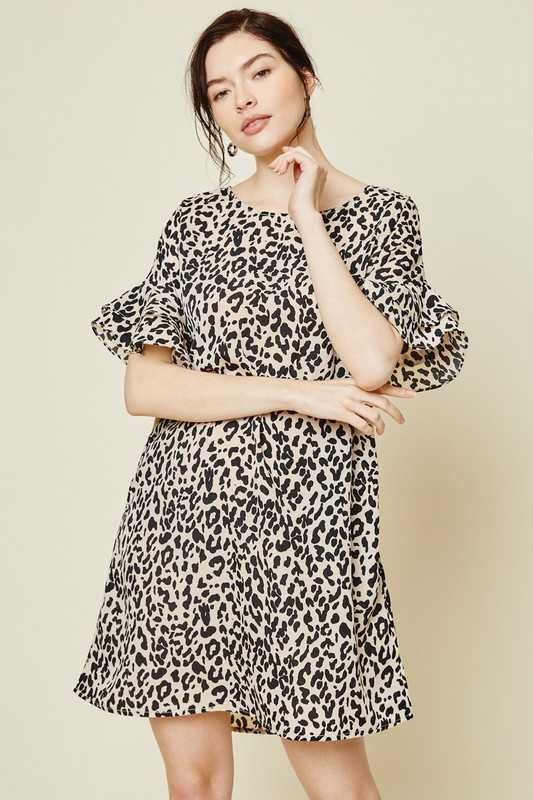 Leopard Ruffle Sleeve Shift Dress