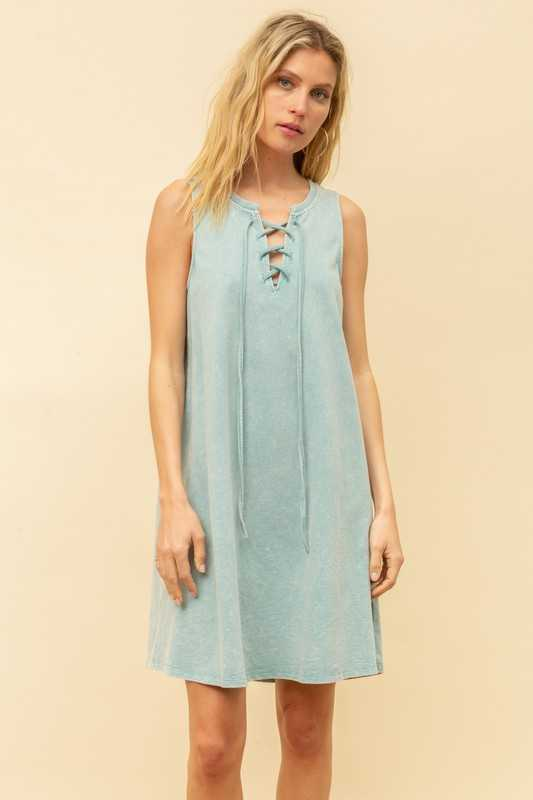 LACE UP DETAILED FRENCH TERRY TANK DRESS