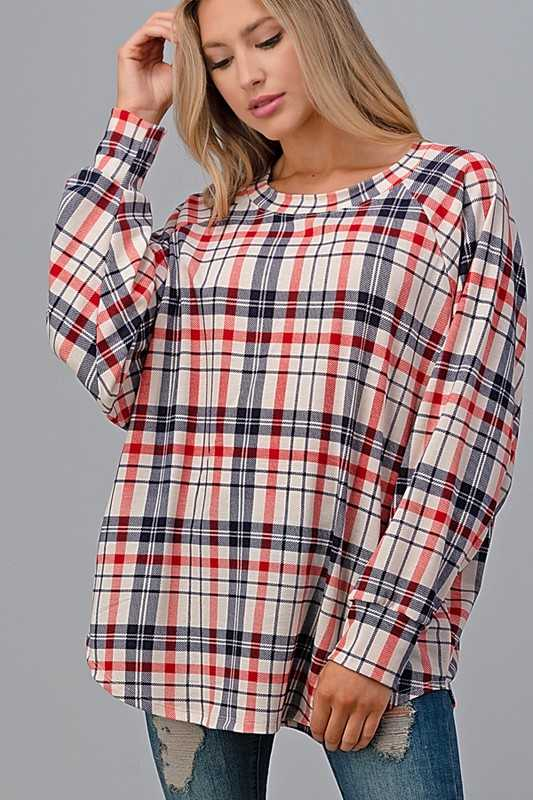 PLAID RAGLAN SLEEVE OVER SIZE TOP