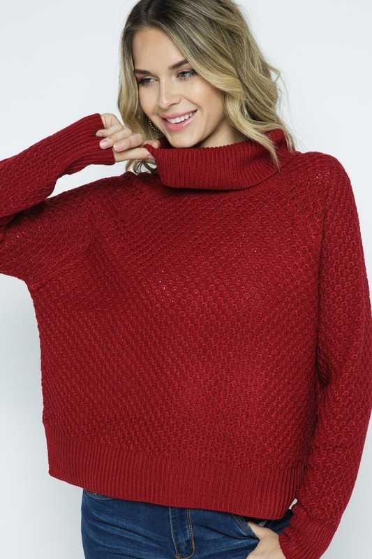 WAFFLE KNIT TURTLE NECK PULLOVER SWEATER