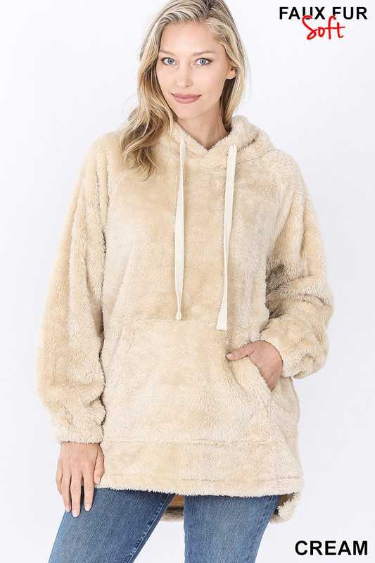 HOODED FAUX FUR KANGAROO POCKETS PULLOVER