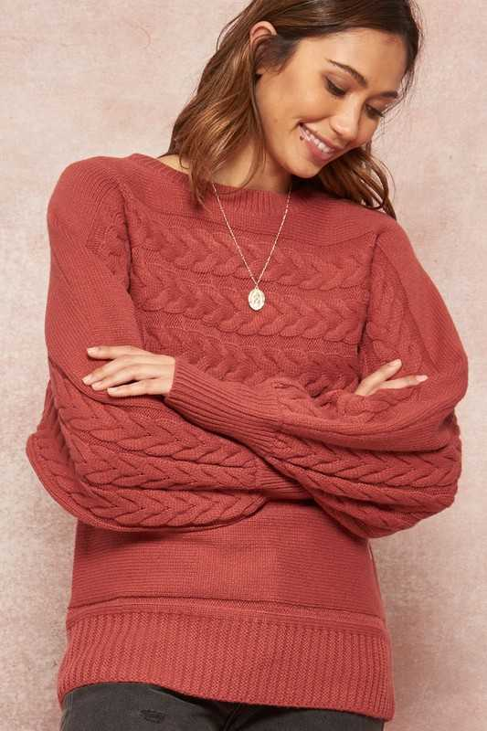 Cable Knit Bishop-Sleeve Dolman Sweater