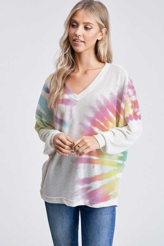Tie dye v neck knit long sleeve top