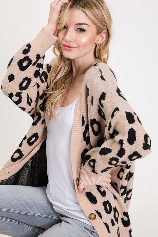 Leopard Print Button Down Over fit Cardigan