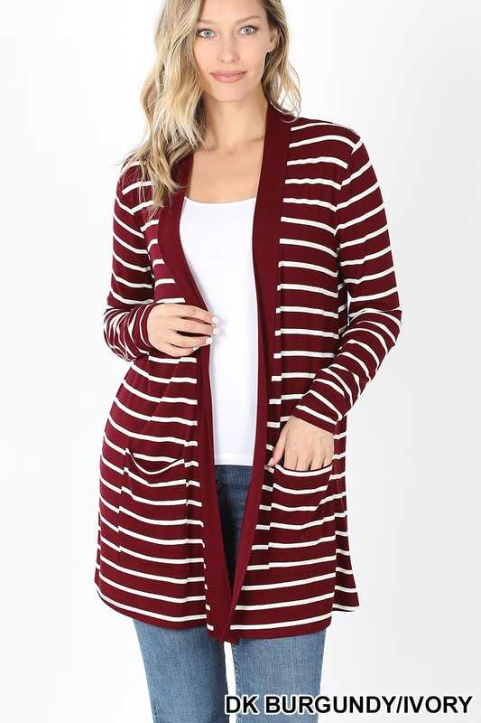 STRIPED SLOUCHY POCKET OPEN CARDIGAN