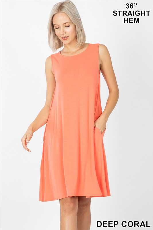 SLEEVELESS FLARED DRESS WITH SIDE POCKETS