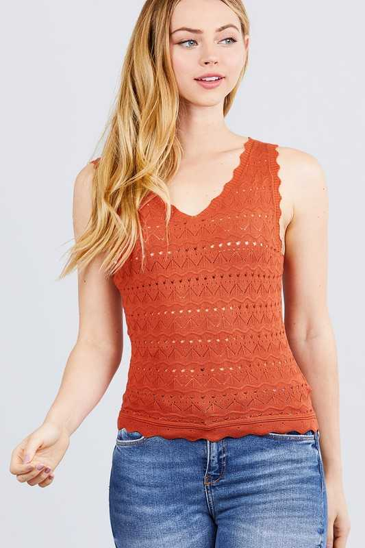 SLEEVELESS V NECK SCALLOP DETAIL SWEATER KNIT TOP