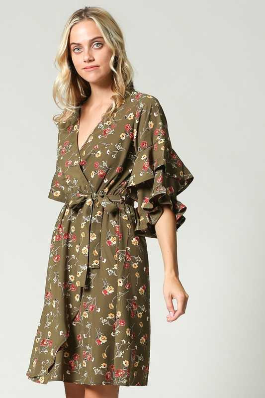 FLORAL WAIST BAND WITH TIE RUFFLED SLEEVES DRESS