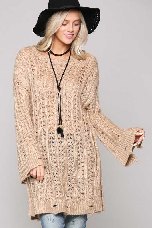 OVER SIZED KNIT TUNIC SWEATER
