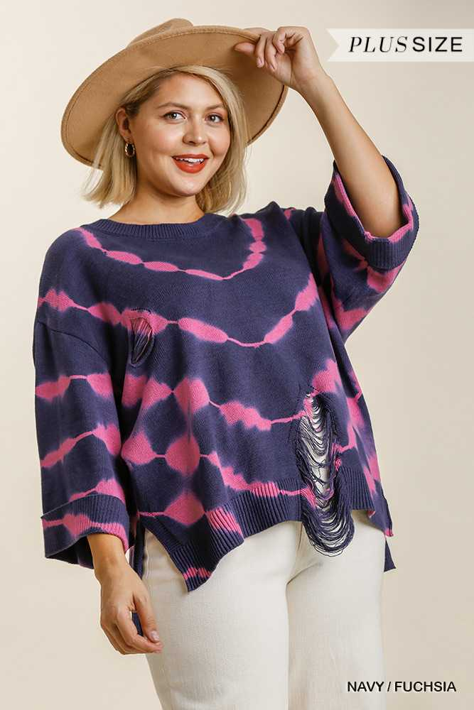 Tie Dye Round Neck Distressed Detail Pullover Sweater