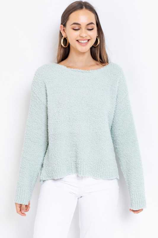 BOAT NECK TEXTURED COZY PULLOVER SWEATER