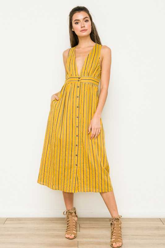 DEEP V NECK BUTTON DOWN MIDI DRESS