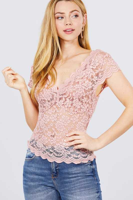 SHORT SLEEVE V NECK FRONT SHIRRING STRETCH LACE TOP