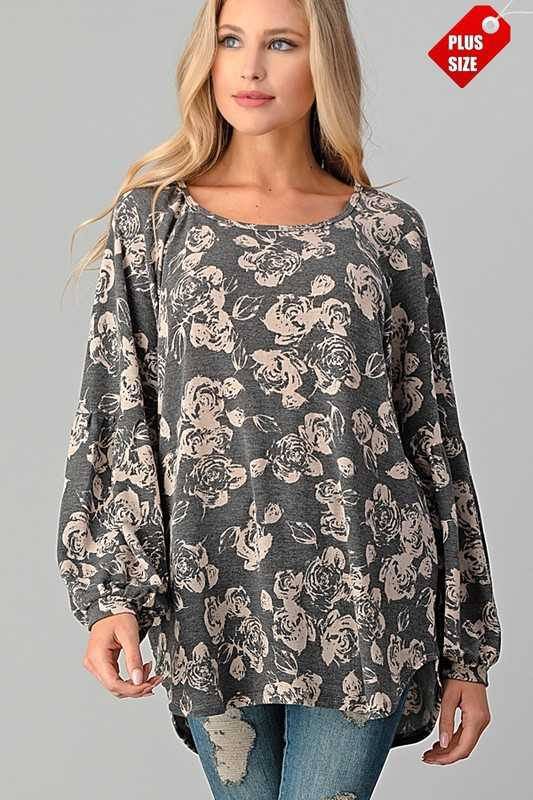 FLORAL SHIRRED SLEEVE  TOP PLUS
