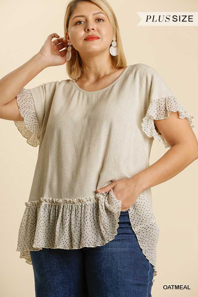 Bell Ruffle Short Sleeve Round Neck Top