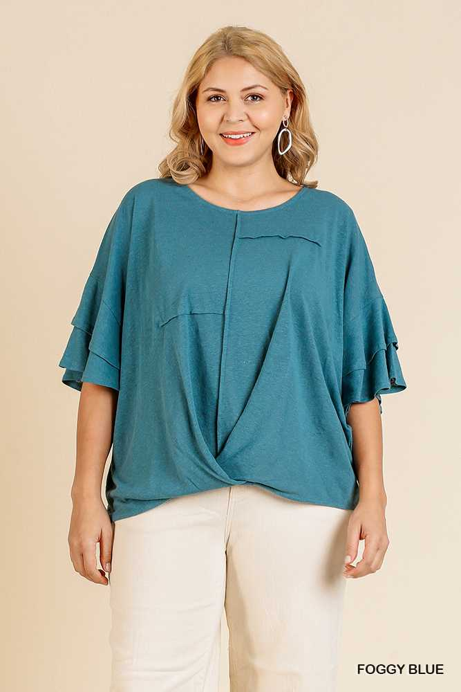 SOLID RUFFLE BELL SLEEVE ROUND NECK PLUS TOP