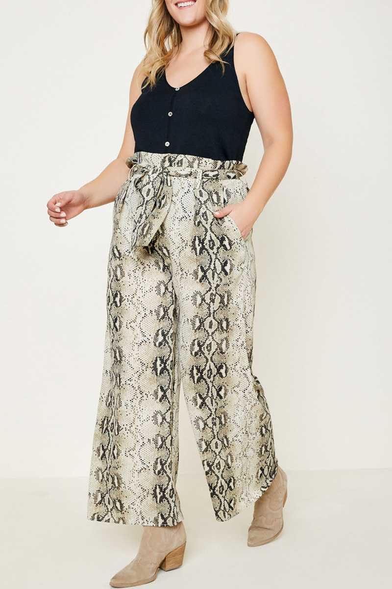 BELTED SNAKE PRINT PALAZZO PANTS