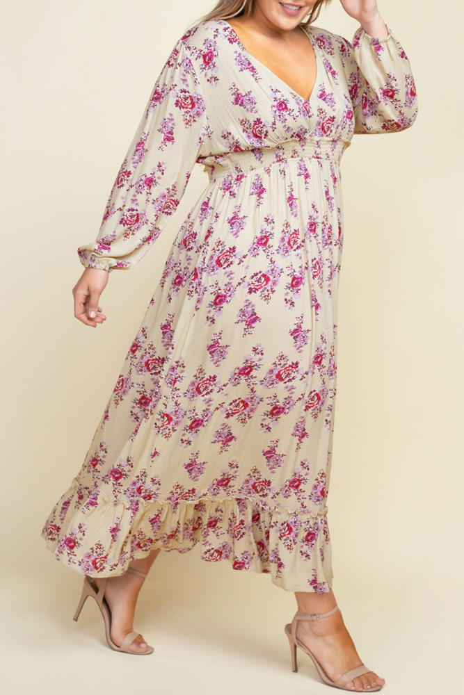 PLUS SMOCKED WAIST FLORAL MAXI DRESS