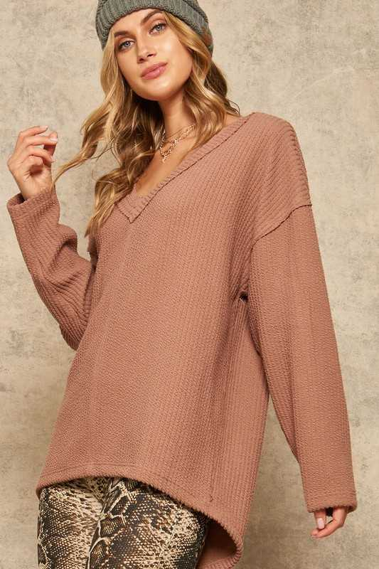 Textured Ribbed Knit Oversized V-Neck Pullover Top