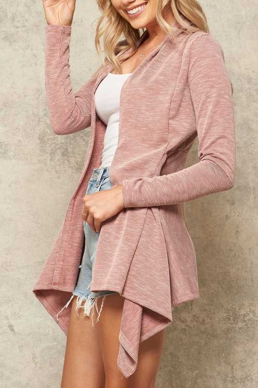 Ribbed Knit Asymmetrical Open-Front Cardigan
