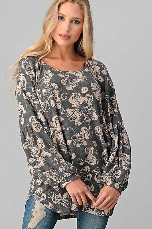 FLORAL SHIRRED SLEEVE  TOP