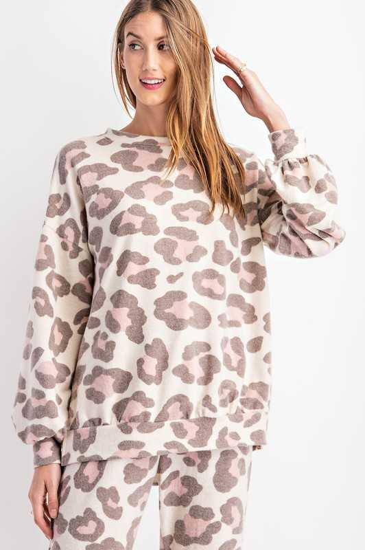 Round Neckline Bubble Long Sleeves Top
