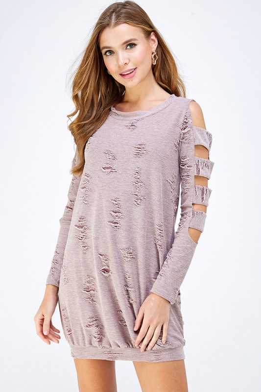 DISTRESSED FRENCH TERRY CUTOUT DRESS