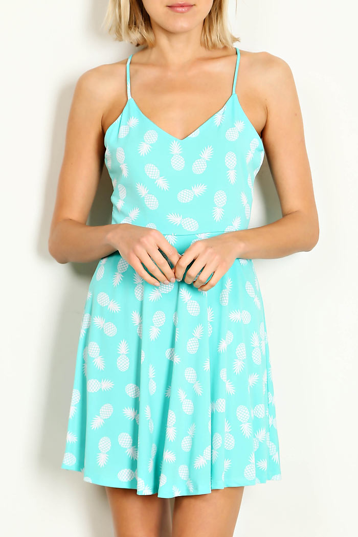 PINEAPPLE PRINT CAMISOLE DRESS