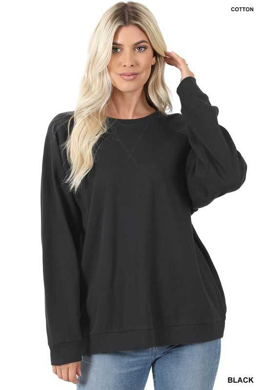 COTTON RAGLAN SLEEVE ROUND NECK PULLOVER