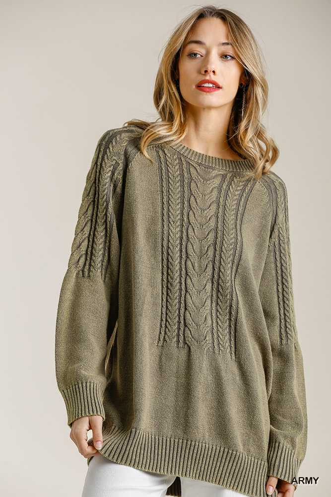 Cable Knit Detail Round Neck Pullover Sweater