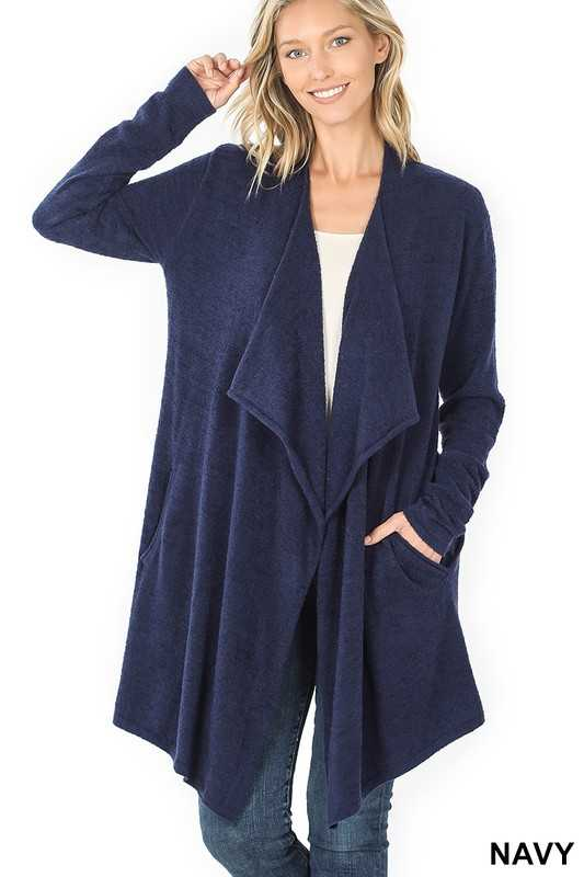 DRAPED OPEN FRONT CARDIGAN SWEATER