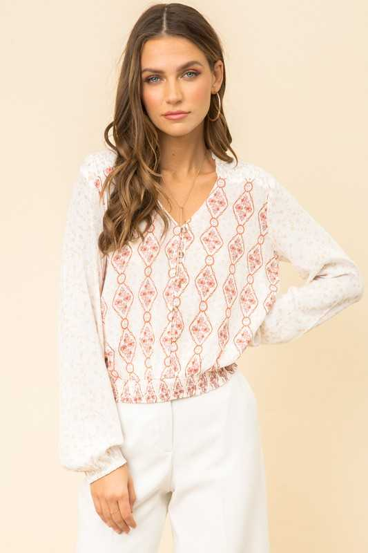 MIX PRINTED SMOCK DETAILED PEASANT BLOUSE TOP