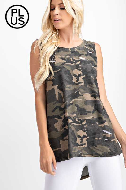 Plus Camo printed laser cut knit Top