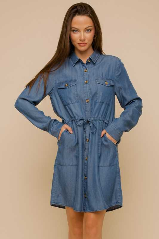 DRAWSTRING WAIST BUTTON DOWN TENCEL DRESS