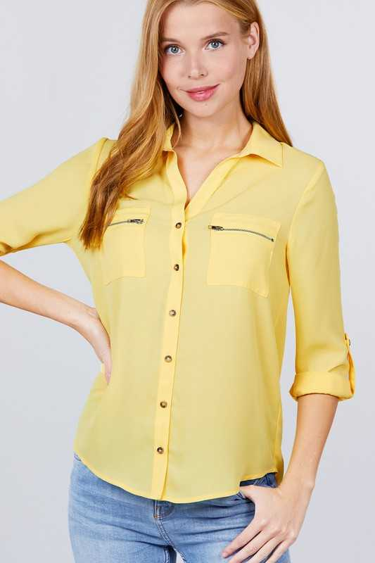 ROLL UP SLEEVE BUTTON DOWN SHIRT BLOUSE