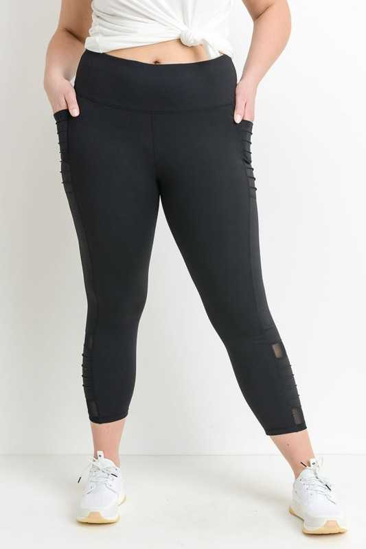 PLUS Highwaist Moto Ribbed Full Leggings with Mesh