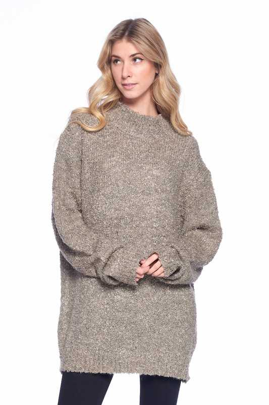 OVERSIZE ROUND NECK KNITTED SWEATER
